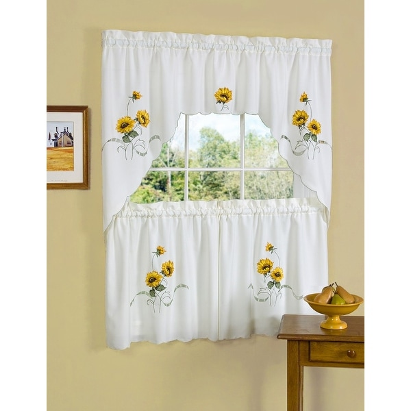 "Sunshine Embellished Kitchen Curtain Beige - 58x36 & 58x36 - 58"" x 36"""