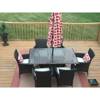 Madison Outdoor 7-piece Rectangle Cast Aluminum Dining Set with Cushions by Christopher Knight Home