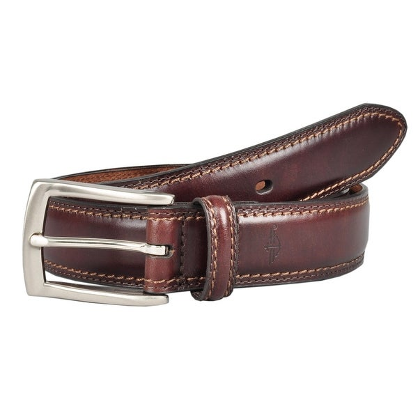 Dockers Men's Leather 1 1/4 Inch Feather Edge Padded Belt
