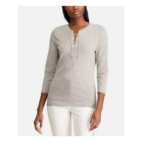 RALPH LAUREN Womens Gray Heather 3/4 Sleeve Jewel Neck Top Size M