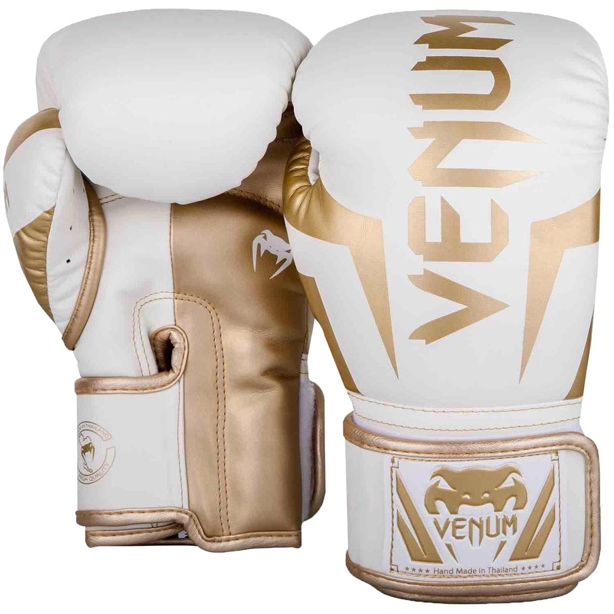 Venum Elite Skintex Leather Hook and Loop Training Boxing Gloves Matte Black