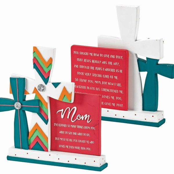 "Mom I Learned So Much From You Tabletop Resin Cross Figurine 5"" x 3"" - other-frame-size"