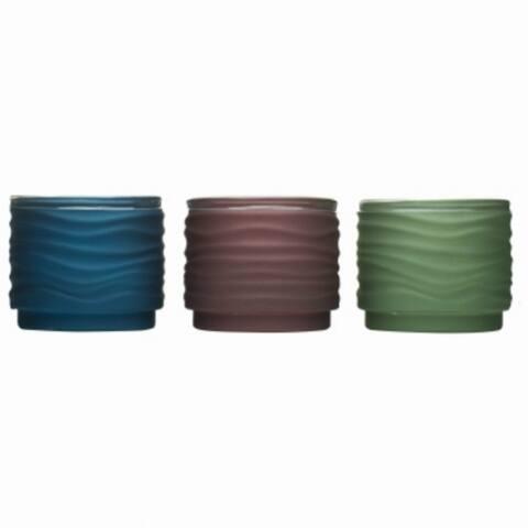 Tiki 1417043 Lavish Woodland Frosted Votive Glass Candle, Assorted, 9 Oz