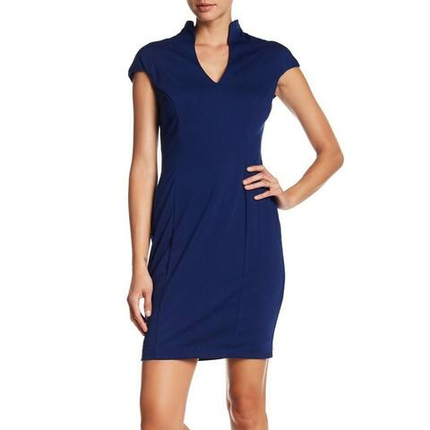 Alexia Admor Women's Cap Sleeve Ruched Sheath, Navy, Small