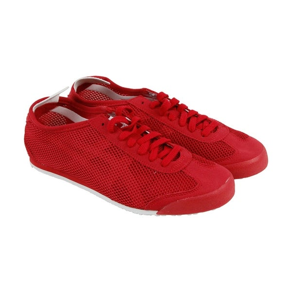 9080ee2957fc35 Shop Onitsuka Tiger Mexico 66 Mens Red Mesh Sneakers Lace Up Shoes ...