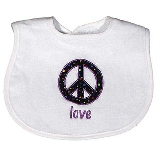 "Raindrops Unisex Baby ""Love"" Appliqued Bib, White - One size"
