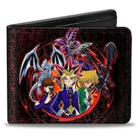 Yu Gi Oh 6 Character Group + Logo Hieroglyphics Black Red Bi Fold Wallet - One Size Fits most