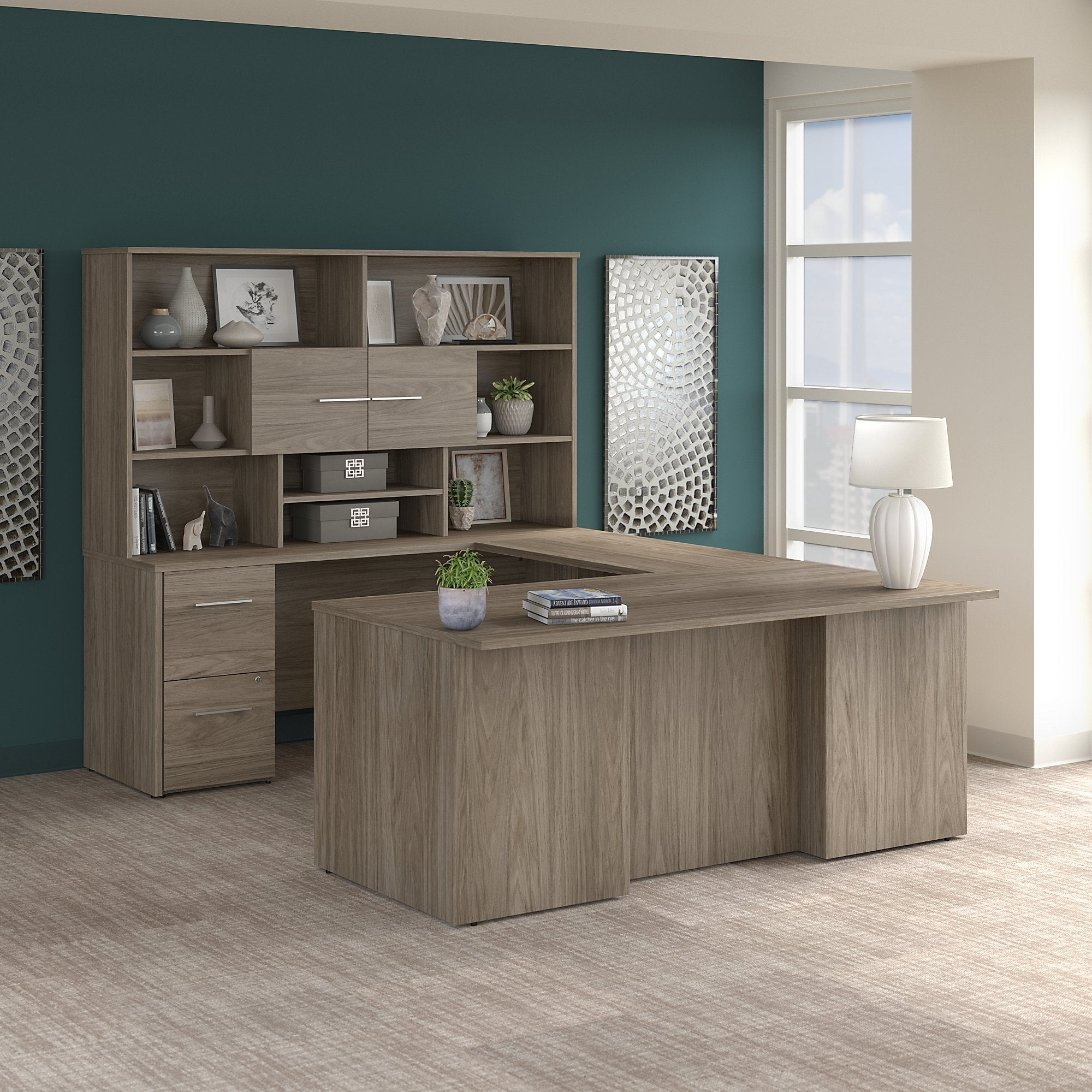 Image of: Shop Black Friday Deals On Office 500 72w U Shaped Desk With Hutch By Bush Business Furniture Overstock 30843676