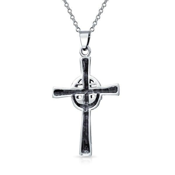 Silver Claddagh Irish Cross Pendant Necklace