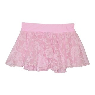 Girls Pink White Floral Rose Lace Overlay Dancewear Skirt