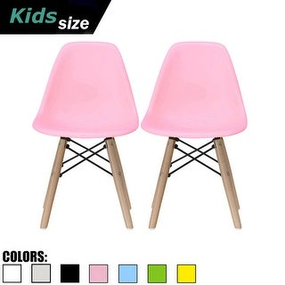 2xhome Set of 2 Pink Modern Kids Size Molded Plastic Armless No Arms Color Seat for Children's Room Natural Wood Eiffel Legs