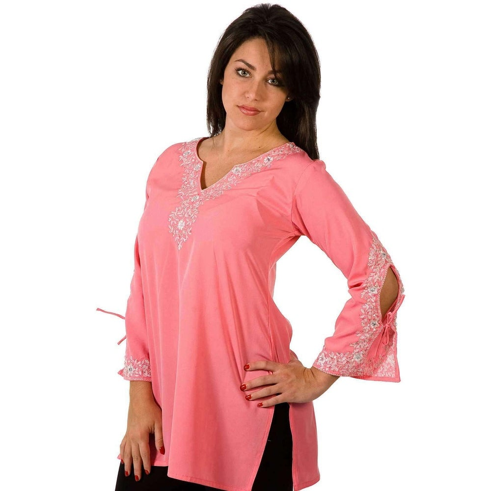 Pink Crepe Kurti / Tunic with white neckline emroidery
