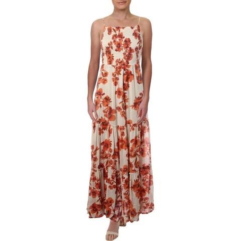 Free People Womens Maxi Dress Floral Print Sleeveless