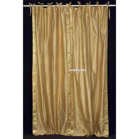 Golden Tie Top Sheer Sari Curtain / Drape / Panel - Pair