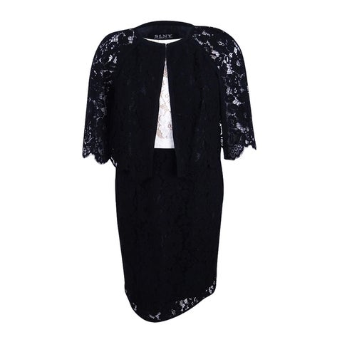 SL Fashions Women's Colorblocked Lace Sheath Dress and Jacket - Black/Ivory