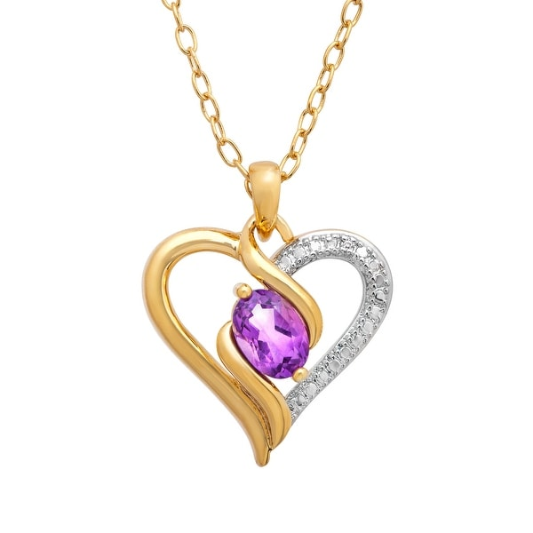 1/2 ct Natural Amethyst Heart Pendant with Diamond in 18K Gold-Plated Brass - Purple