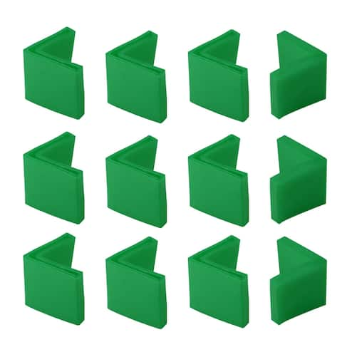 40mm x 40mm Angle Iron Foot Pads L Shaped PVC Furniture Chair Leg Caps End Covers Floor Protector Green 12 Pcs - 40 x 40mm