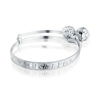 Bling Jewelry Sterling Silver Baby Rattle Alphabet Charm Bangle Bracelet 6in