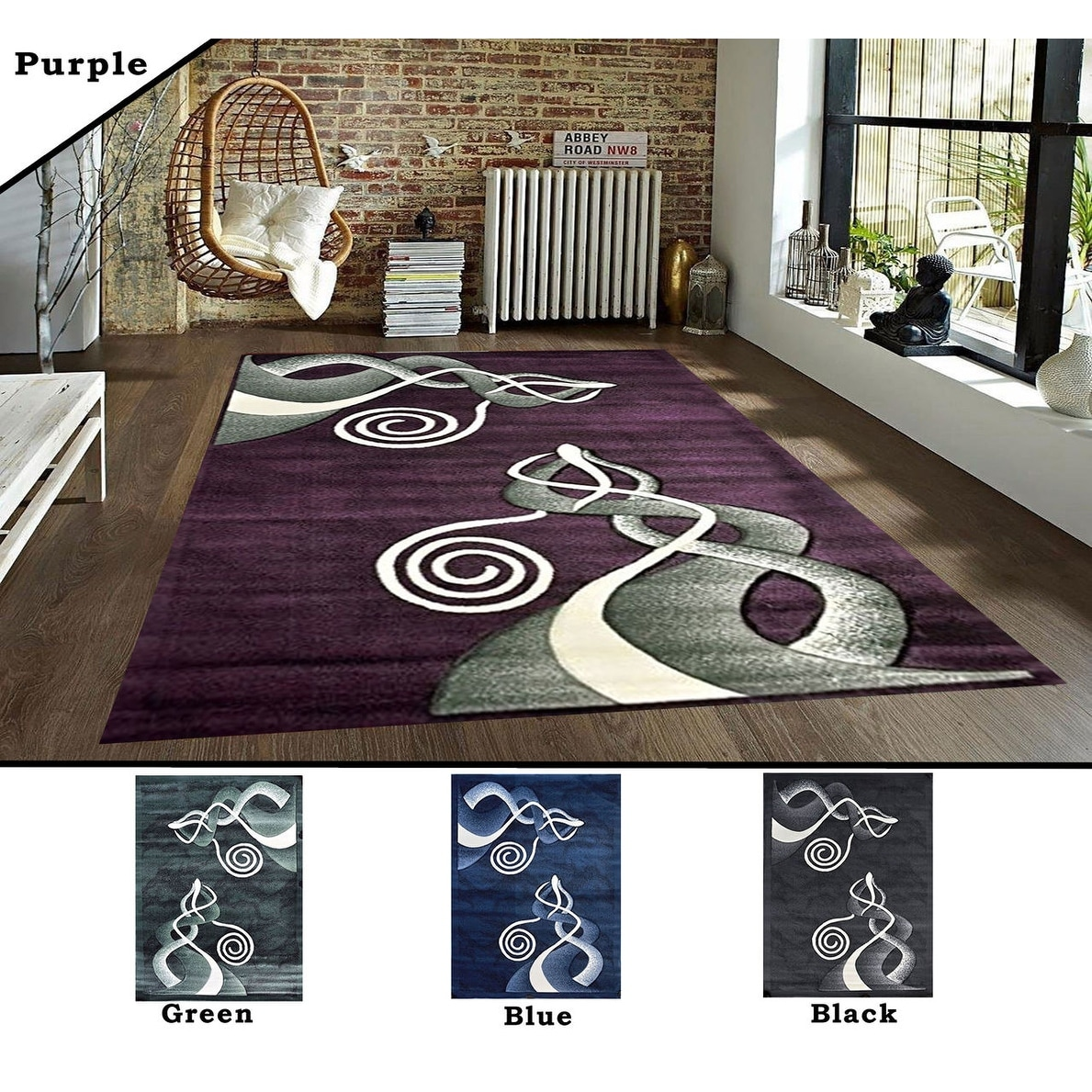 2x7 2 5 3x7 2 8x10 Feet Rug Carpet Area Rug Green Black Purple Blue Polyester Modern Contemporary Overstock 11981198
