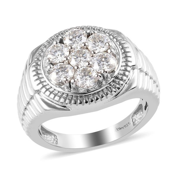 Shop LC Platinum Over 925 Silver Moissanite Ring Men Ct 1.6. Opens flyout.