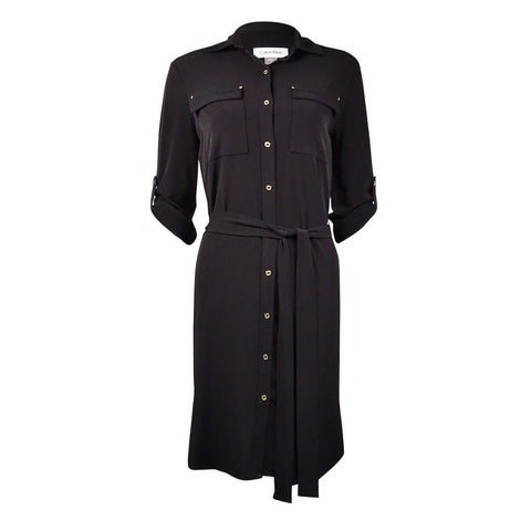 Calvin Klein Women's Belted Roll-Tab Jersey Shirtdress