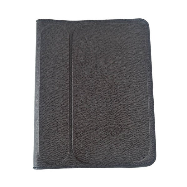 Tods Mens Dark Brown Grained Stamped Leather Ipad 2 Case