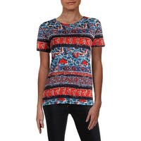 Lucky Brand Womens T-Shirt Printed Crew Neck