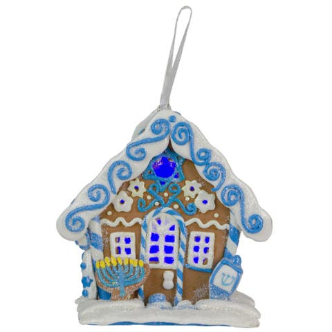 "4"" Blue and White Hanukkah Gingerbread LED Lighted House Hanging Ornament"