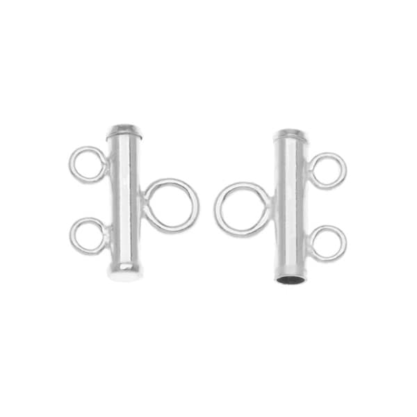 Sterling Silver Double Bead Strand Reducer Connector (x2)