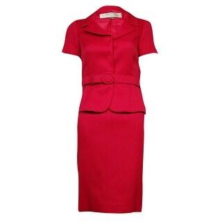 Tahari Women's Belted Short Sleeve Woven Skirt Suit