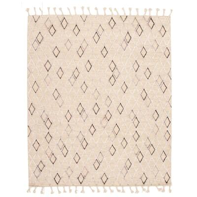 ECARPETGALLERY Flat-weave Kalista Light Khaki Silk, Wool Kilim - 7'10 x 9'10