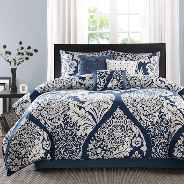 Madison Park Marcella Indigo Cotton Printed 7-piece Comforter Set - King