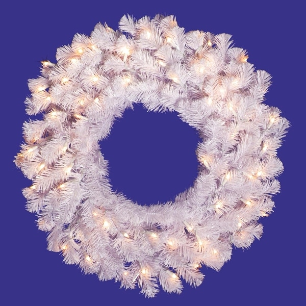 "48"" Pre-Lit Crystal White Artificial Christmas Wreath - Clear Dura Lights"