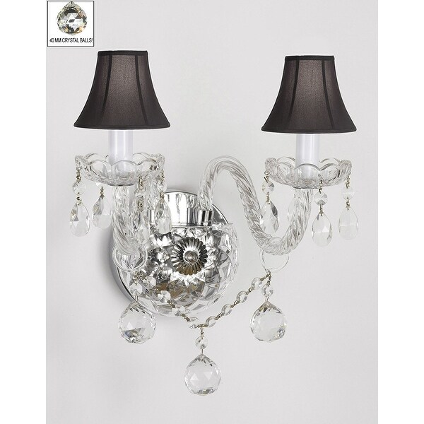 Venetian Style All Crystal Wall Sconce With Crystal Balls and Black Shades
