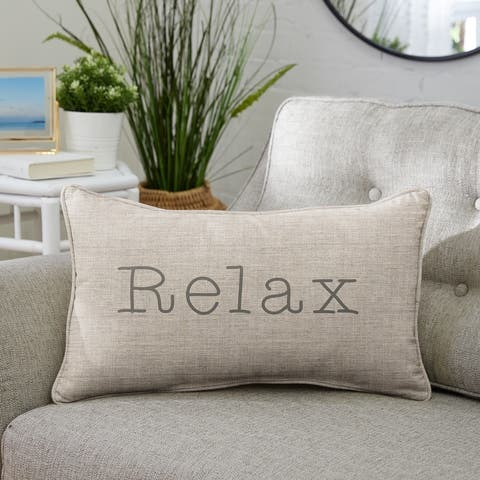 """Sunbrella Indoor/Outdoor Single Embroidered Pillow - """"Relax"""""""