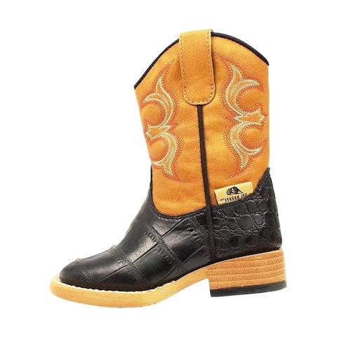 Double Barrel Boots Boys Bronc Cowboy Gator Print Black Tan