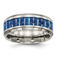 Titanium Polished Blue/White Carbon Fiber Inlay Ring (8 mm)