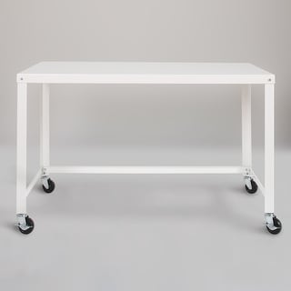 Link to Porch & Den Rockridge White 48-inch Mobile Desk Rolling Cart Similar Items in Corner Desks