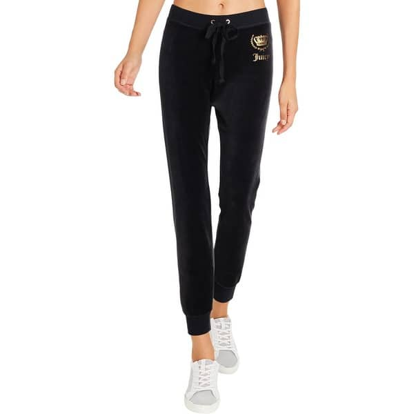 Shop Juicy Couture Black Label Womens Royal Crown Zuma Track Pants Velour Athleisure Overstock 29900832