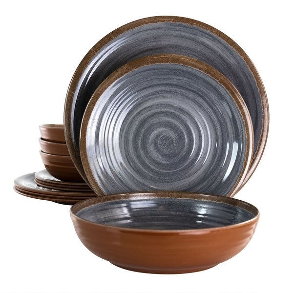 Elama Stone Oak 12 pc Lightweight Melamine Dinnerware Set. Opens flyout.