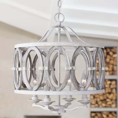 Farmhouse Entwined Ovals 4-Light Wooden Candle Chandelier