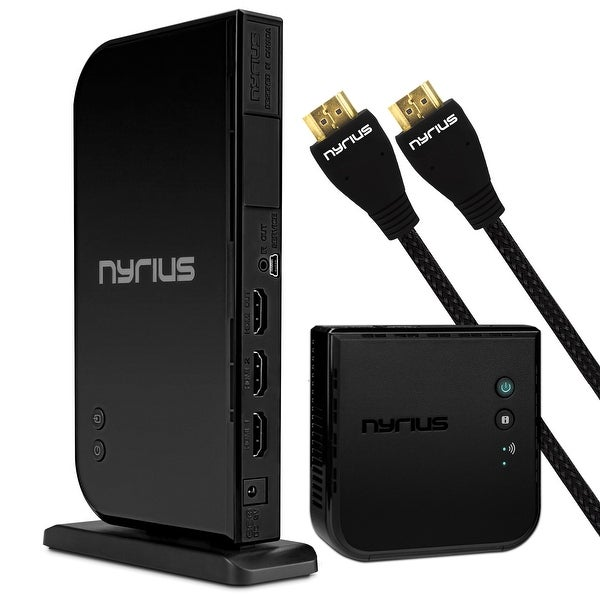 Nyrius Wireless HDMI 2 Input Transmitter & Receiver; Streaming HD 1080p 3D Video with 2 HDMI Cables