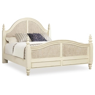 """Hooker Furniture 5900-90266  Sandcastle 82"""" Wide King Size Rubberwood Coastal Style Panel Bed with Seagrass Accent"""