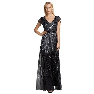 Adrianna Papell Cap Sleeve V-Neck Beaded Evening Gown Dress