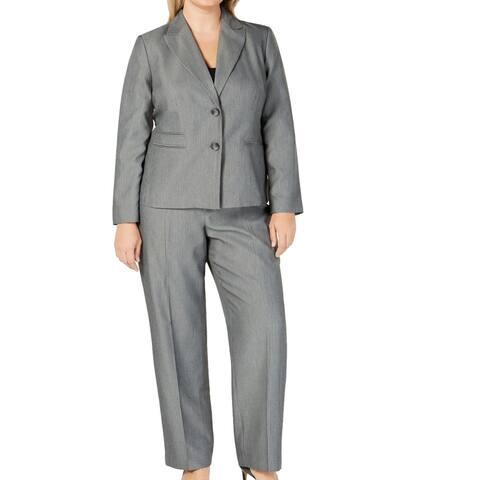 Le Suit Women's Pant Suit Plus Notch Collar Stripe
