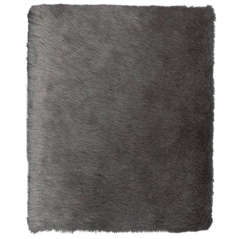 ECARPETGALLERY Handmade Faux Sheepskin Plush Grey Rug - 4'0 x 6'0