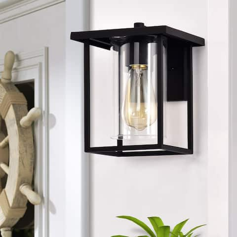1-light 7-in./ 9.5-in. Outdoor Black Metal Wall Sconce w/ Clear Glass Shade
