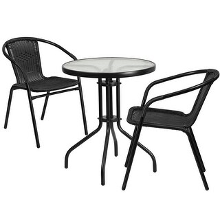 Skovde 3pcs Round 23.75'' Glass Metal Table w/2 Black Rattan Stack Chairs