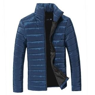 Men's Zipper Pockets Cozy Fit Zip Closure Padded Coat Blue (Size S / 36)