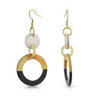 Bling Jewelry Buffalo Horn Gold Plated Iron Circle Link Dangle Earrings